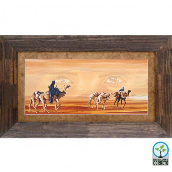 Quadro Decorativo Inovare Camelos No Deserto - In0113 - 95x58 Cm
