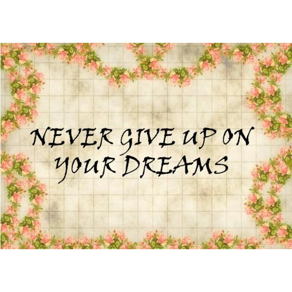 Gravura para Quadros Never Give Up On Your Dreams - Afi4437
