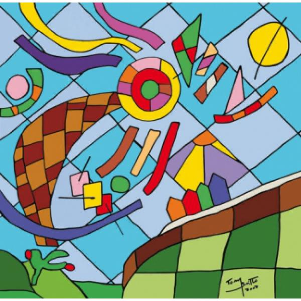 Gravura para Quadros Kite Tom Britto - 60x40 Cm