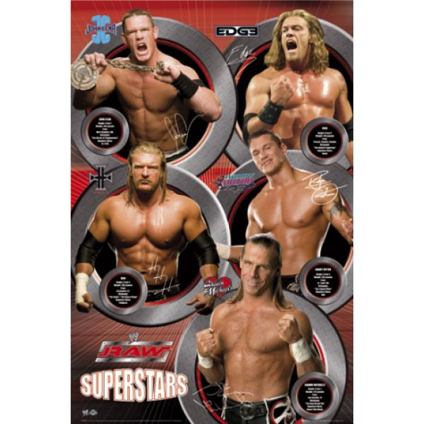 Gravura para Quadro Lutadores Raw Superstars - Sp0356 - 60x90 Cm