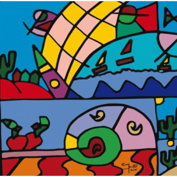 Gravura para Quadros Love Desert Tom Britto - 60x40 Cm