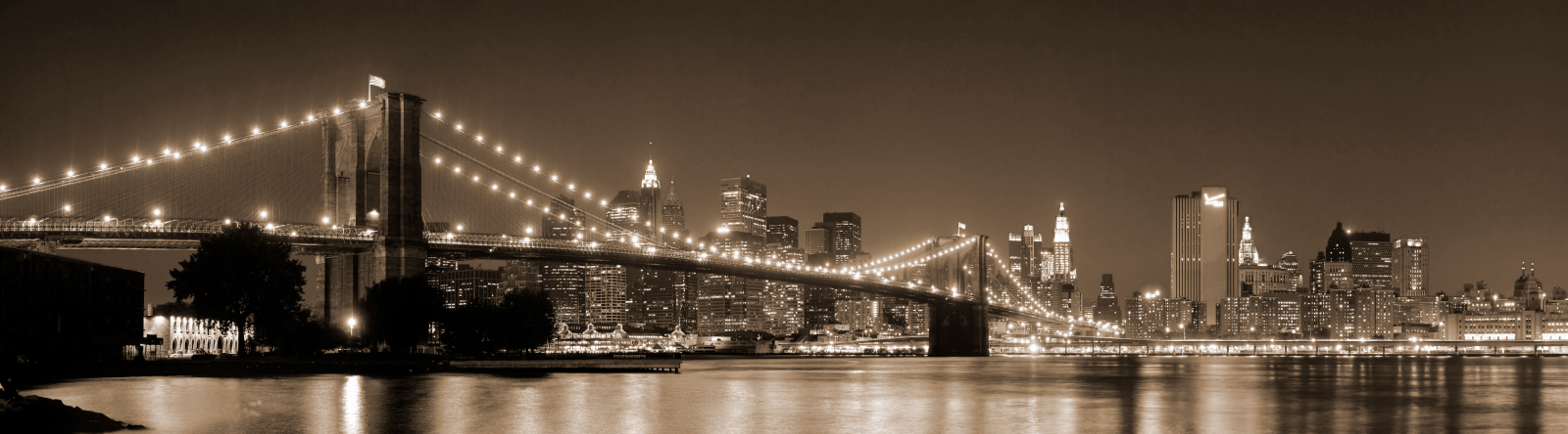 Gravura para Quadros Ponte do Brooklyn New York - Afi6606 -490x140 Cm