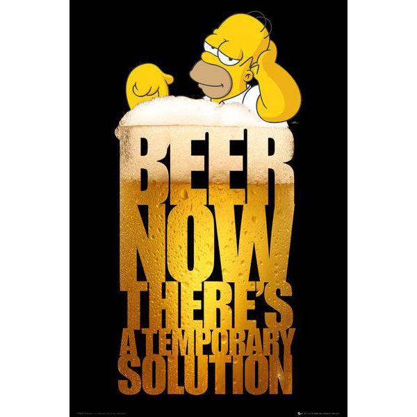 Gravura para Quadros The Simpsons Beer Now Theres a Temporary Solution - Fp2864 - 61x91,5cm