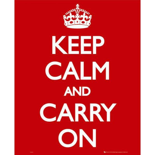 Gravura para Quadro Humor Keep Calm And Carry On I- Mp1181 - 40x50 Cm