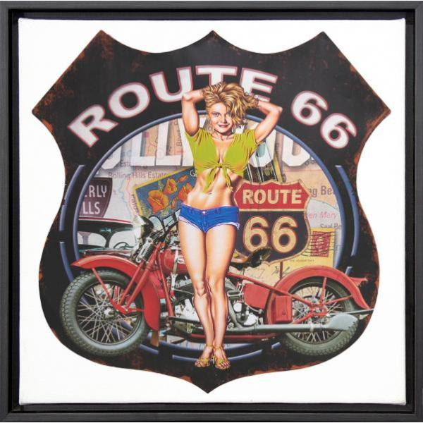 Tela Decorativa Pin Up com Moldura Imagem Route 66 28x28cm